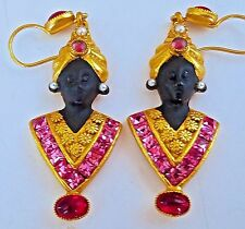 ~WOW! New Askew London Art Blackamoor Tunic Drop EARRINGS Signed Askew London