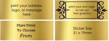 Gold Return Address Labels Personalised Gold RECTANGLES Stickers customised x50