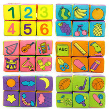 6pcs Baby Cloth Building Blocks Rattle/Number/Fruit Soft Cube Educational Toys