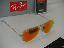 Authentic Ray-Ban Aviator 3025 112/69 62mm Orange Mirror Lens Gold Fram Sunglass