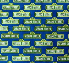 Welcome to Sesame Street BTY Quilting Treasures Street Signs on Blue