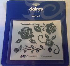 Claire's Cosmetics Body Art -Glitter Temporary Tattoos -Flowers Roses - NEW!