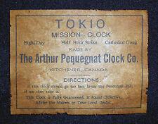 ANTIQUE CLOCK  PEQUEGNAT LABEL parts ADD A NAME