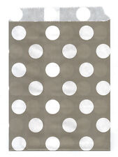 25 Pcs Gray Large Dots 5x7 Print Paper Gift Bags Favor Candy Shop