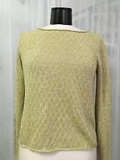 Eileen Fisher Gold And White Loose Knit Rolled Edges Sweater Size Med