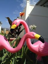"2 LG 27"" Pink Flamingos Plastic Yard Garden Lawn Art Decor Stakes USA MADE"