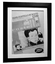 ELVIS COSTELLO+Punch Clock+POSTER+AD+RARE+ORIGINAL 1983+FRAMED+FAST GLOBAL SHIP