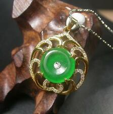 Gold Plate CHINESE Icy Green JADE Pendant Circle Donut Necklace 260270