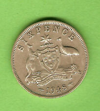 1948  AUSTRALIAN SILVER SIXPENCE COIN