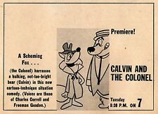 1961 Tv Cartoon Ad ~ CALVIN AND THE COLONEL/Charles Correll & Freeman Gosden