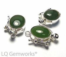 GREEN JADE 925 Sterling Silver 8x10mm Box Clasp