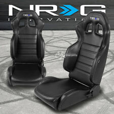 NRG FULLY ADJUSTABLE PVC LEATHER BLACK/WHITE BUCKET RACING SEATS+MOUNT SLIDER