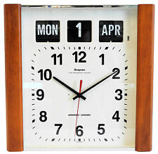 Grayson Dark Wood Panel Calendar Clock Day Date Month White - G239WD