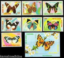 Equatorial Guinea 1976 MNH Imperf SS + 7v, Butterflies, Insect   - B6