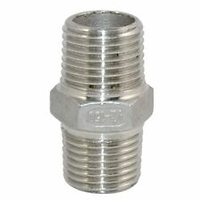 """1/2"""" Male x 1/2"""" Male Hex Nipple Stainless Steel 304 Threaded Pipe Fitting NPT"""