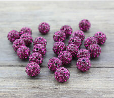 Wholesale 100 Pcs Cz Crystal Shamballa Beads Pave Disco Balls Fuchsia 10MM New