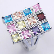 SALE! SIZE 11 New Blue Topaz Amethys Pink Sapphire lab Sterling Silver Fill Ring