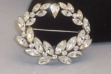 Vintage Designer Quality Clear Marquise Rhinestone Brooch Pendant Combination