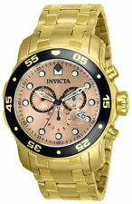 New Mens Invicta 80063 Pro Diver SWISS quartz Chronograph Gold Watch