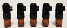 SNUFF BULLET ACRYLIC LOT  5 BROWN GLASS BULLET & BLACK TOP
