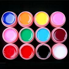 12 Pcs Solid Mix Color Pure Nail Art UV Builder Gel Set for Acrylic Tips