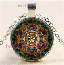 Sri Yantra Sacred Geometry Cabochon Glass Tibet Silver Chain Pendant Necklace