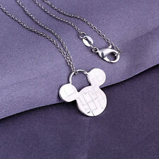 wholesale sterling solid silver chains bright Mickey pendant necklace XLSP159