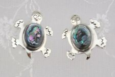 Alpaca Mexican Silver Abalone Turtle  Earrings Post Type Fashion Jewelry NEW