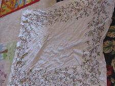 Cutter tablecloth gray flowers vintage cottage romantic garden chic large fabric
