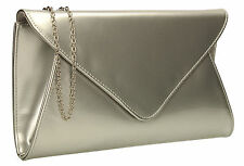 Patent Ladies Flat Clutch Bridal Party Envelope Designer Women Evening Bags UK