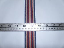 "35 yd Roll 1 1/2"" Heavy Duty Suspender Elastic Striped Navy, Red & Beige"