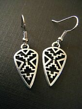 """FREE GIFT ** ANTIQUED SILVER EARRINGS - American Indian Design 1 1/2"""" Long"""