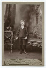 CABINET CARD  BOY HOLDING RIDING CROP, PAINTED BACKGROUND. ALLEGHENY CITY, PA.