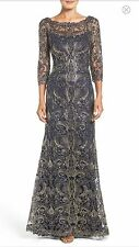 TADASHI SHOJI CORDED EMBROIDERY ON TULLE 3/4 SLEEVE GOWN SIZE 4 - MSRP $599