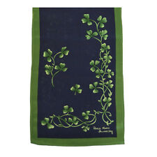 Shamrock Silk Scarf Navy & Green Sprig Made in Ireland