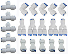"1/4"" OD Connect Push In to Connect Water Tube Fitting (Y+T+I+L Type Combo) 20Pcs"