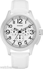 Guess Men's  Stainless Steel White Leather Quartz Watch with White Dial U11658G1