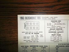 1963 Oldsmobile F85 Series 215 CI V8 SUN Tune Up Chart Sheet Great Shape!