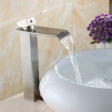 "12"" Waterfall Bathroom Faucet Brushed Nickel Vessel Lavatory One Hole/Handle Tap"