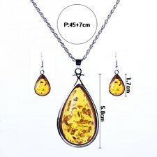Yellow Amber stones pendant sliver necklace and earrings women's favorite
