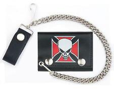SKULL RED IRON CROSS TRIFOLD BIKER WALLET W CHAIN mens LEATHER #572 NEW