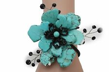 New Women Stretch Cuff  Bracelet Fashion Light Blue Flower Stones Floral Jewelry