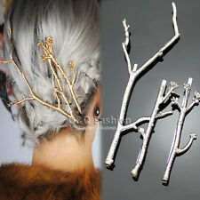 Runway 3x Silver Tree Branch Hair Pin Head Dress Snap Barrette Clip Fascinator