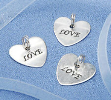 "20 "" LOVE "" -  Silver Heart Charms - Wedding Favors"