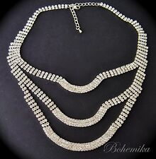 Vintage Art Deco Necklace Glass Rhinestone Crystal Collana Collier
