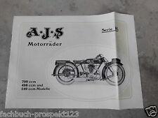 AJS KATALOG 1927 799 498 349 MODELLE SERIE H A.J.S. OLDTIMER MOTORRAD SAMMLER