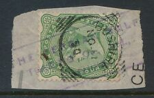 INDIA USED in BUSHIRE QV 1890 4a 6p on PIECE + PERSIAN GULF TRADING CO HANDSTAMP