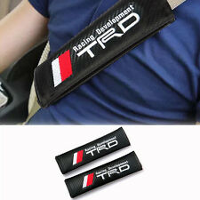 2PC TRD Black Carbon Fiber Seat Belt Shoulder Pads/Cover JDM Racing USA SELLER