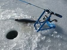 "ICE FISHING TIP DOWN-TIP UP Rod Pole Holder Blue 9"" tall Sturdy Metal Easy Store"