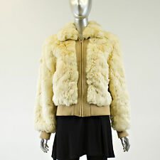 Pearl Rabbit Fur Bomber Jacket - Size S - Pre-Owned